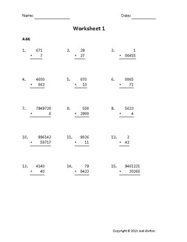 Add up to 9 digits to up to 5 digits (50 worksheets)