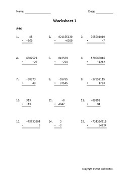 Add up to 9 digits to up to 5 digits with a negative (50 worksheets)