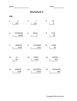 Add up to 9 digits to up to 5 digits with mixed negatives (50 worksheets)