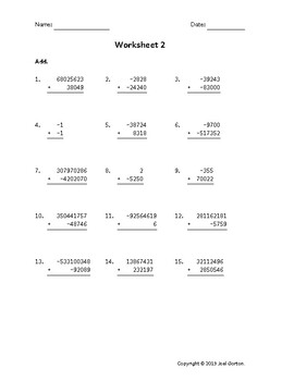 Add up to 9 digits to up to 7 digits with mixed negatives (50 worksheets)