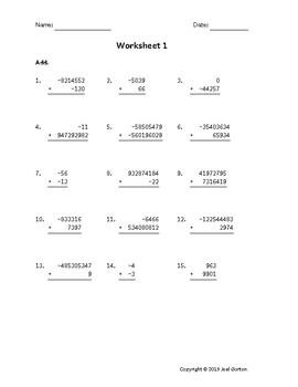 Add up to 9 digits to up to 9 digits with mixed negatives (50 worksheets)