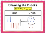 Add 2-digit numbers with base ten drawings
