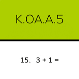 K.OA.A.5: Add within 5 (50 worksheets, horizontal problems)