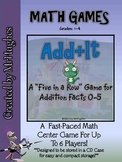 "Addition Math Facts Center (Facts 0-5) {""Add+It"" Five In A Row }"