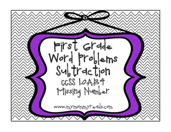Add/Sub Relationship Word Problems, 1st grade CCSS