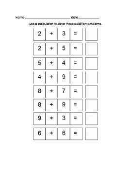 Add/Sub with a Calculator Worksheets