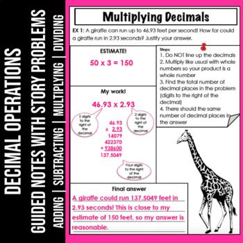 Add and Subtract Decimals Guided Note Sheets
