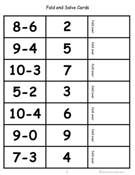 Add/Subtract Fold and Solve Cards