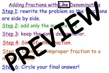 Add/Subtract Fractions with Like Denominators