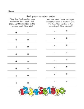 Add/Subtract Missing Sign and Roll a number