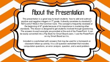Add/Subtract Positive/Negative Numbers PowerPoint Lesson 7th & 8th Grade