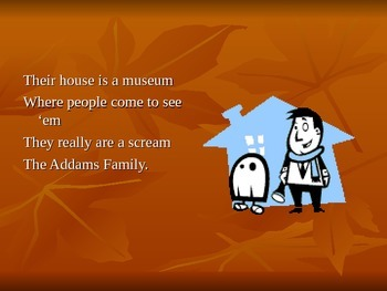 Addams Family Fall Sing Along with Powerpoint
