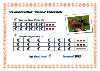 Addams family musicogram for Halloween