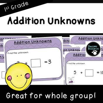 Addition Unknowns-Teacher Slides (First Grade, 1.OA.8)