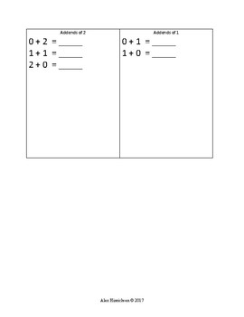 Addend Booklet, Numerals 0-10