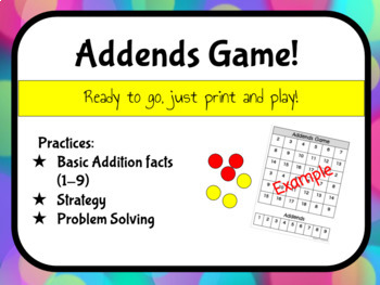 Addends Game - Practice Addition Facts 1-9 - NO PREP