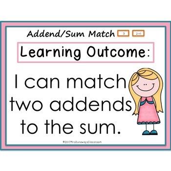 Addends/Sums Matching Math Center