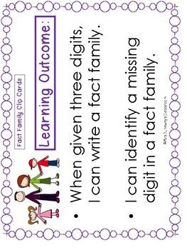 Fact Family Clip Cards