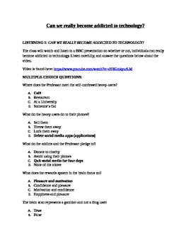 Addicted to Technology Worksheet
