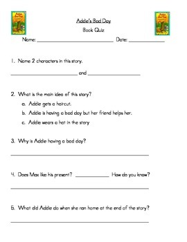 Addie's Bad Day: Guided Reading Packet