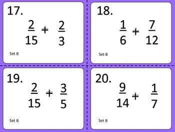 Addiing Unlike Fractions--Task Cards