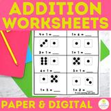 Math Addition to 10 Worksheets | Math Center Work Google S