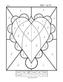 Adding 1 to 10 Color by Numbers Valentines Heart Worksheet