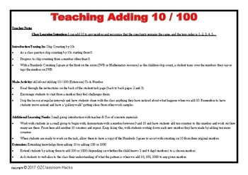 Adding 10 / 100 / 1000 To Any Number Full Lesson Plan and Resources