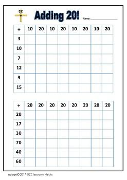 Adding 10 & 20 Grid Mathematics Lesson