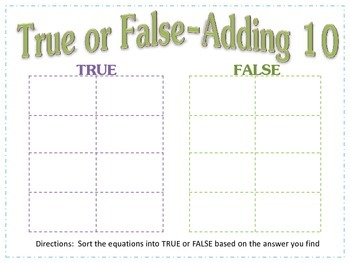 Adding 10- True False Sort