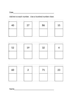 Adding 10 Using a Hundred Number Chart