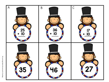 Adding 10 to Two Digit Numbers  Abraham Lincoln Theme  Grades 1 - 2
