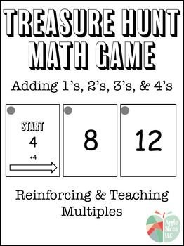 Adding 1's, 2's, 3's, and 4's Treasure Hunt Math Game