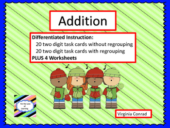 Adding 2 Digit Numbers Centers--with and without regrouping--Christmas Theme