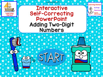 Add 2 Digit Numbers Dental Health Month Interactive Self-Correcting PowerPoint