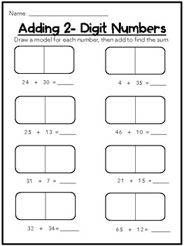Adding 2 Digit Numbers NO Regrouping; Draw a Model/Base Ten FREEBIE!