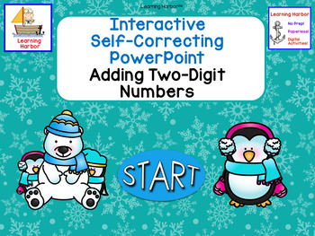 Adding 2 Digit Numbers Polar Bears and Penguins Self-Correcting PowerPoint