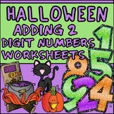 Adding 2 Digit Numbers Worksheets - Halloween Themed