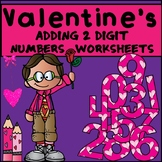 Adding 2 Digit Numbers Worksheets - Valentine's Day Themed