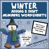 Adding 2 Digit Numbers Worksheets - Winter Themed