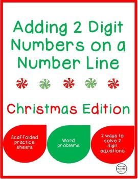 Adding 2 Digit Numbers on a Number Line Christmas Edition