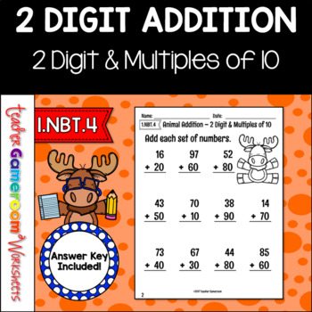 Adding 2 Digit and Multiples of 10 Worksheet