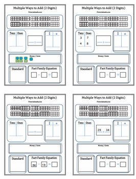 Adding 2 Digits Multiple Ways Common Core Templates and Activities