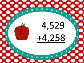 Adding 2 Four Digit Numbers--Apple Theme