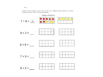 Adding 2 Numbers Using 10 Frames: Sums to 20