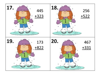 Adding 2 Three Digit Numbers Centers and Worksheets---Winter Theme