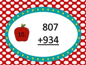 Adding 2 Three Digit Numbers with Regrouping---Apple Theme