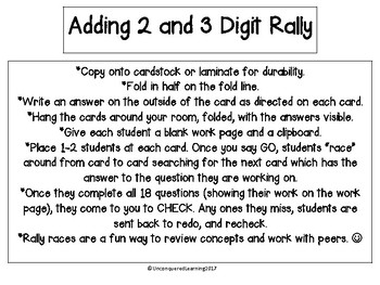 Adding 2 and 3 Digits Rally