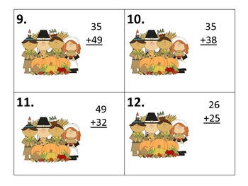 Adding 2 digit Numbers with and without Regrouping--Thanksgiving Center