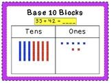 Adding 2-digit numbers using base ten blocks